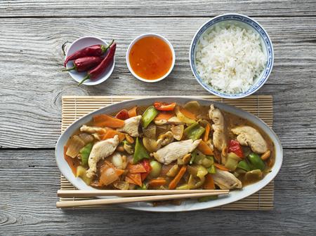 Chinese food, chicken chop suey overhead shoot photo