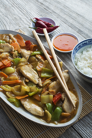 Chinese food, chicken chop suey close up shoot photo