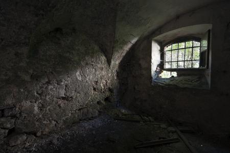 abandoned house window: Old abandoned house dark vintage interior shoot Stock Photo