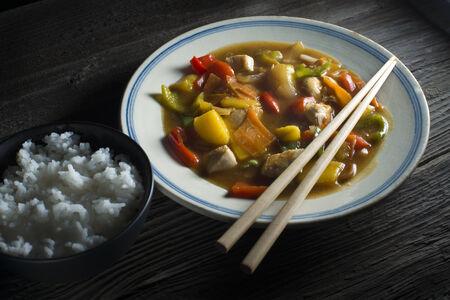 Chinese chicken chop suey close up shoot photo
