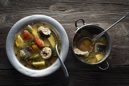 stew: Healthy hot fish stew close up shoot Stock Photo