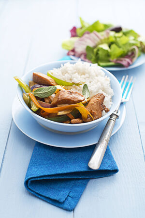 chop stick: Fresh chicken with vegetables and rice close up shoot