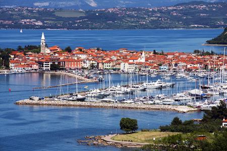 slovenia: Beautiful coast town Izola - Slovenia from above Stock Photo