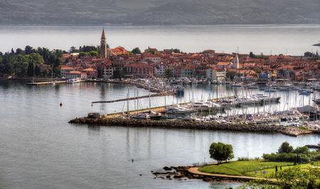 littoral: Beautiful coast town Izola - Slovenia from above Stock Photo