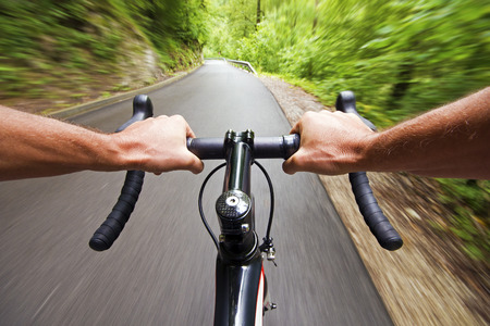 road cycling: Road cycling wide angle speed shoot Stock Photo