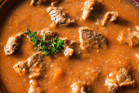 beef stew: Portion of traditional Beef stew - goulash close up shoot