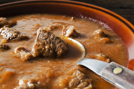 stew: Portion of traditional Beef stew - goulash close up shoot