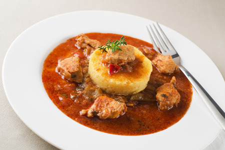 Portion of traditional meat stew - goulash on white plate photo