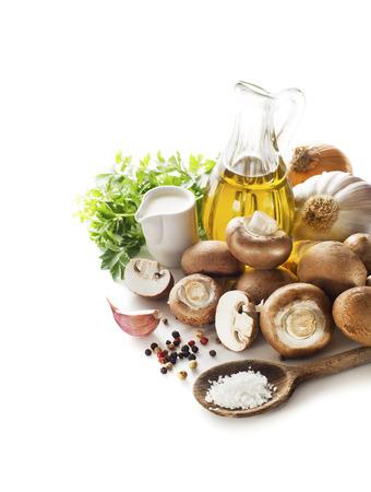 mushroom soup: Ingredients for mushroom soup on white background