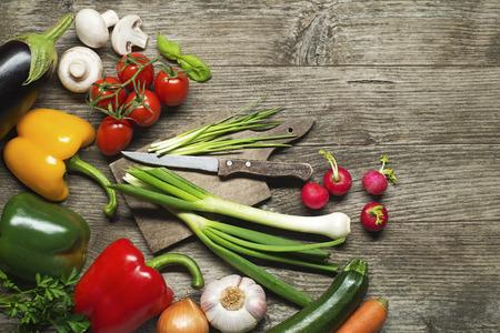 Fresh Vegetable ingredients on old wooden table