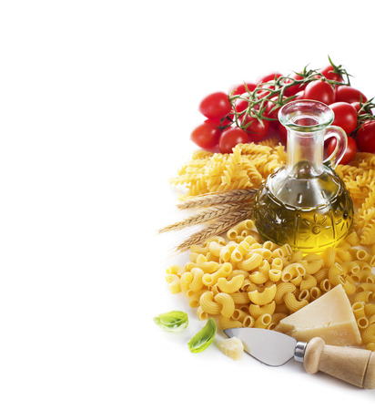 Pasta and tomatoes with parmesan on white background photo