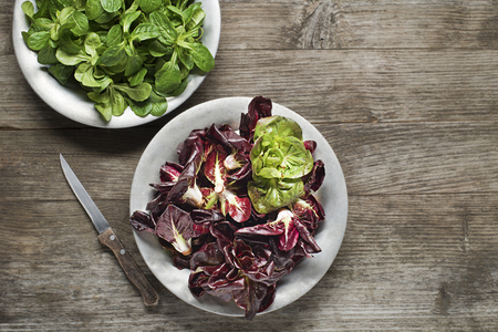 salad plate: Valerianella lettuce and red radicchio in a plate close up Stock Photo