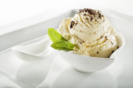chocolate ice cream: Ice cream in bowl on white background