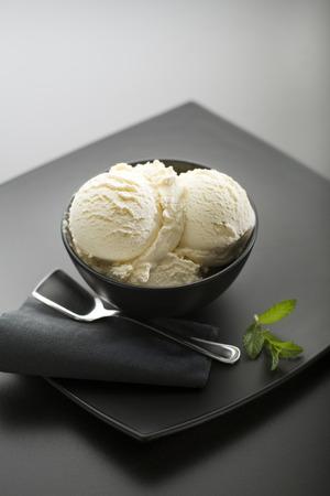 Ice cream on a black close up Archivio Fotografico