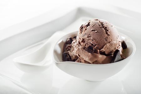 Chocolate ice cream on a white