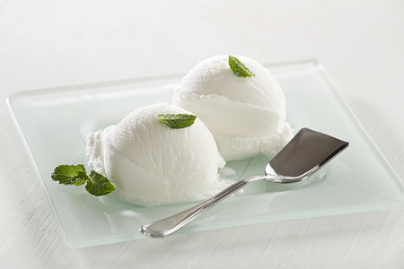 Fresh white ice cream served in a plate. Stock Photo