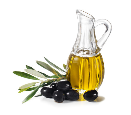 Olive oil and olive branch isolated on white.