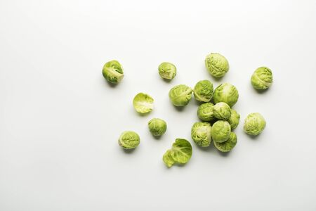 sprout: Fresh raw Brussels sprouts isolated on a white background. Stock Photo