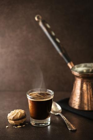 Cup of espresso coffee on dark background Archivio Fotografico