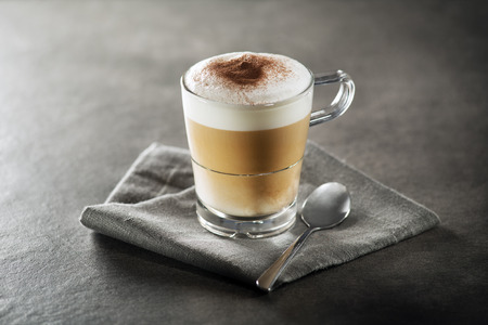 pressurized: Cup of hot Cappuccino Coffee close up. Stock Photo