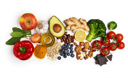 Selection of healthy food on white background.