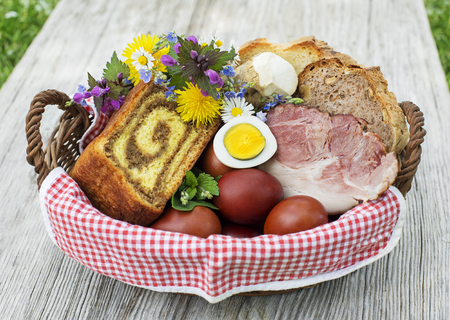 Easter traditional food with ham, eggs and bread in basket. Holidays background outdoor