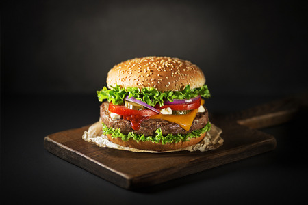 Homemade hamburger or burger with fresh vegetables and cheese Standard-Bild - 104660009