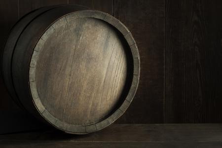 Brewery, winery background. Wine, beer barrels stacked background. Wooden barrel background