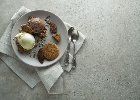 Homemade Organic chocolate and vanilla Ice Cream with biscuit in a plate close up