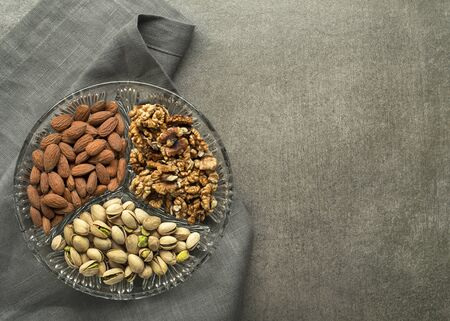 Assortment of mixed nuts. Pistachios, almonds, walnuts