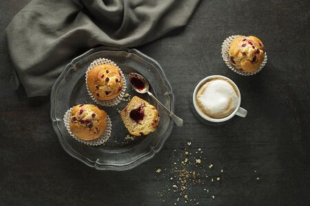 Served dessert with muffins and coffee. Continental breakfast table