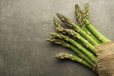Asparagus. Fresh Asparagus. Green Asparagus. Bunches of green asparagus, top view- Image