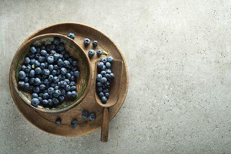 Fresh picked of blueberries. Berries overhead closeup Zdjęcie Seryjne