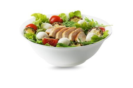 Healthy green salad with chicken breast and mozzarella isolated on white background