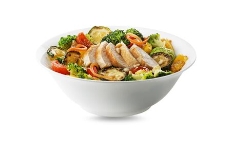 Healthy chicken meal with grilled chicken and vegetables isolated on white background. Healthy lunch bowl.
