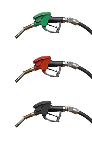 Refueling hoses isolated on white close up. Red green yellow color fuel gasoline dispenser background. Petrol price goes down after pandemic coronavirus. low price of fuel.