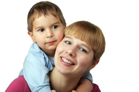 motherly: beauty young mother and her son on white background
