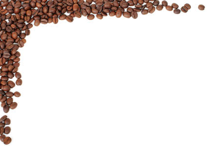 jitter: frame of red brown coffee beans on white