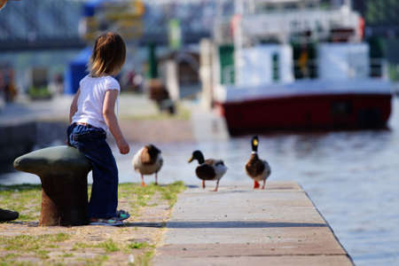 Little  girl feedind wild ducks at landing stage or river embankment at sunny day. She is wait for duck. We see ship not in fokus at background. Prague, Vltava. photo