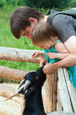 goat horns: Father and daughter together feeding goat kid. Stock Photo