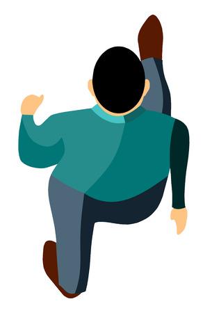 男のイラスト歩行 - 空撮