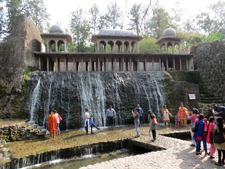 secretly: People visit the Rock Garden built by self-taught artist Nek Chand Saini who started the garden secretly in his spare time in 1957. Rock Garden is made of recycled industrial and home waste.