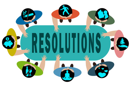 healthier: New Years Resolution concept illustration.