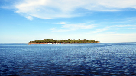 sports complex: View of Ross Island from the Andaman Water Sports Complex, Port Blair, India.