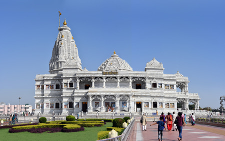 prem: Vrindavan, India - October 13, 2016: Prem Mandir - The Temple of Divine Love is a divine monument, gifted by the Rasik saint Jagadguru Shri Kripalu Ji Maharaj to the holy city of Vrindavan. Editorial