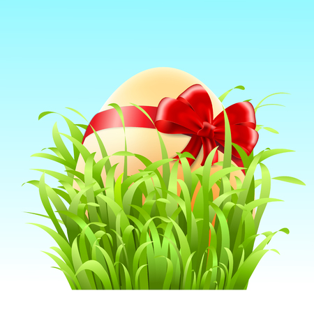 Stock Vector Easter egg with a bow in the grass and flowers