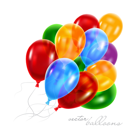 3d Realistic Colorful Balloons . Vector Illustration 向量圖像