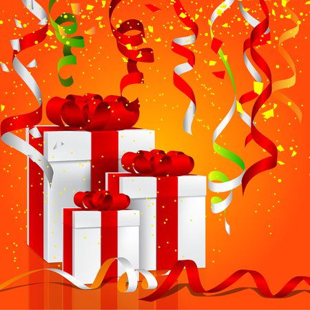 illustration of gift boxes with colorful hanging party steamer Illustration
