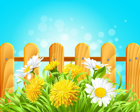 Vector illustration of a wooden signpost in the grass