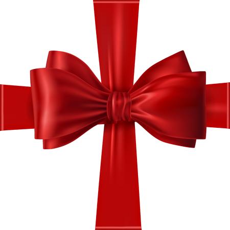 Rotes Band mit Bogen auf einem weißen Hintergrund. Vektor-Illustration